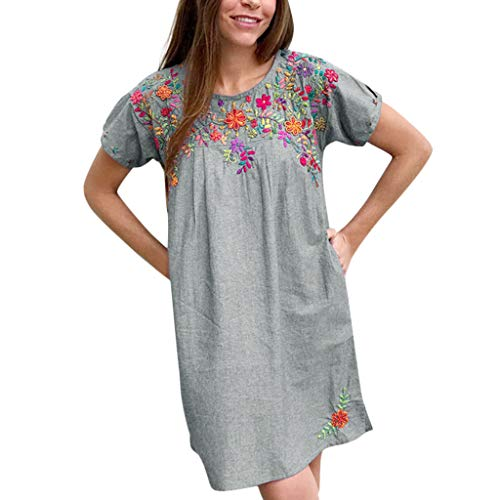 WENOVL Dress Women Party,The Fashion Women Summer Embroidered Neck Short Sleeve Dresses Gray