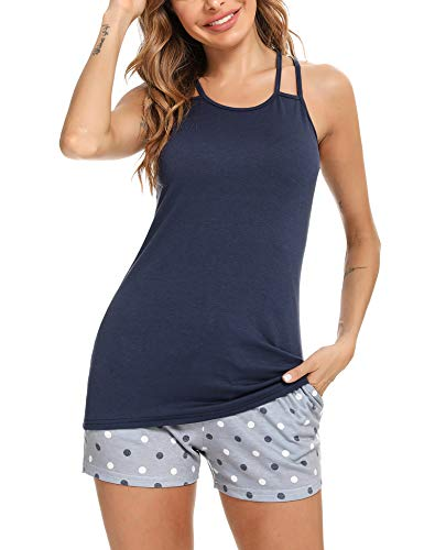 Hawiton Pijamas Mujer Verano Manga Corta Conjunto de Pijama para Mujer 2 Piezas de Ropa de Dormir Algodón Suave Loungewear, Azul Oscuro, L