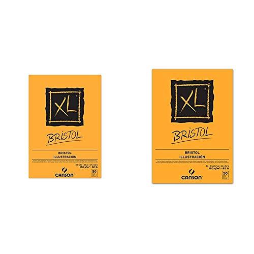 canson Bloc Encolado, A3, 50 Hojas, XL Bristol Extraliso 180g + Bloc de Dibujo, Blanco, A4, 21 x 29.7 cm