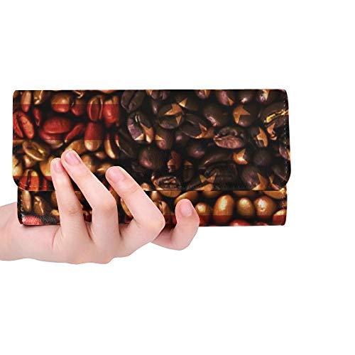 Einzigartige benutzerdefinierte usa Flagge kaffeebohnen Frauen Trifold Wallet Lange geldbörse kreditkarteninhaber case Handtasche