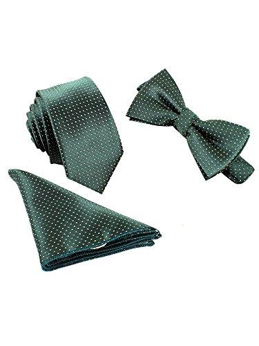 WANYING Classic 6 * 12 cm y 6 cm de la pajarita corbata estrecha para Hombres Talla única A14 Verde Oscuro