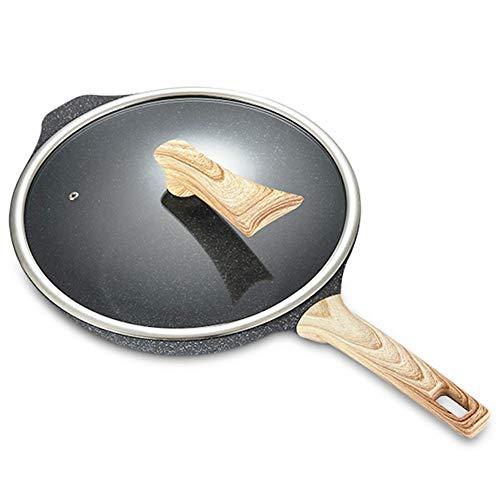 LRasdf Antistick Koekenpan Hoogwaardig 9-Inch Aluminium met Glas Deksel Gebakken Noedels Is Zeer Geschikt voor Omelet Koken Zwart