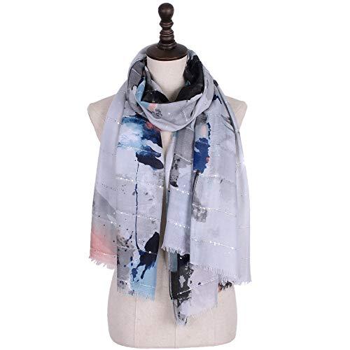 Dhmm123 Bufandas cálidas Mujeres de impresión Bufandas largas Suave ardiente de algodón Bufanda mantón Envoltura Farseeing Estola (Color : Gray)