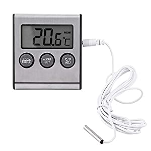 JANTRO JS - Thermomètre de réfrigérateur numérique, alarme de thermomètre de congélateur de réfrigérateur d'affichage à cristaux liquides pour le réfrigérateur, le congélateur ou la pièce intérieure,