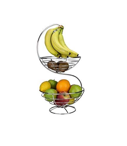 Ard'time TF-2COBRD Corbeille à Fruits 2 Niveaux Rond en INOX Pampa Tables en fête, Acier Inoxydable, 28,5 x 28 x 56,5 cm