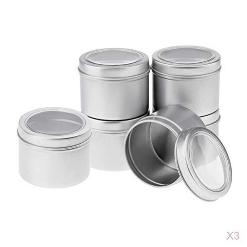 Bonarty Boîte Ronde En Aluminium 18pcs, Pot, Bouteille, Boîte, Récipient De Stockage Avec Couvercle à Vis