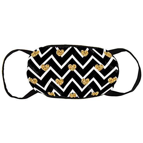 Geometric Cotton Gezichtsmasker met gouden hartjes, seamless patroon, zwart en wit, met design, modieus anti-douche gezichtsmasker, herbruikbaar mouth muffle masker