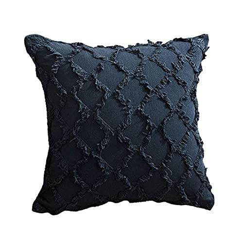 Funda de cojín de un solo color, 45 x 45 cm, algodón, funda de cojín bohemia, suave y lisa, para sofá, dormitorio, cama, decoración (azul marino)