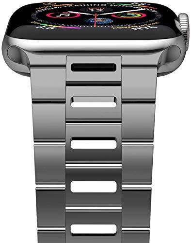 iitee - Cinturino compatibile con iWatch da 44 mm 42 mm, ultra sottile e traspirante, in acciaio inox, compatibile con Apple Watch serie 5/4/3/2/1 uomo donna
