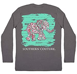 Southern Couture SC Classic Paisley The Elephant on Longsleeve Womens Classic Fit T-Shirt - Charcoal