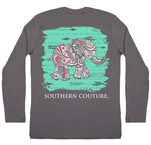 Southern Couture Classic Collection Paisley Elephant Long Sleeve Womens Classic Fit T-Shirt; Charcoal, Small