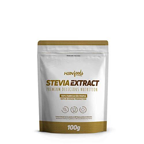 Stevia en Polvo de HSN Foods | Extracto de Hojas Stevia | Edulcorante Natural y Saludable | Sin Calorías, Vegano, Sin Gluten, Sin Lactosa, 100g