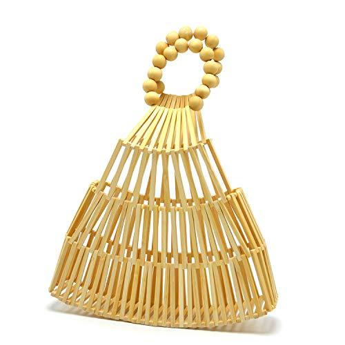 Miuco Bamboo Purses For Women Handmade Top Handle Bags Ladies Tote Handbags