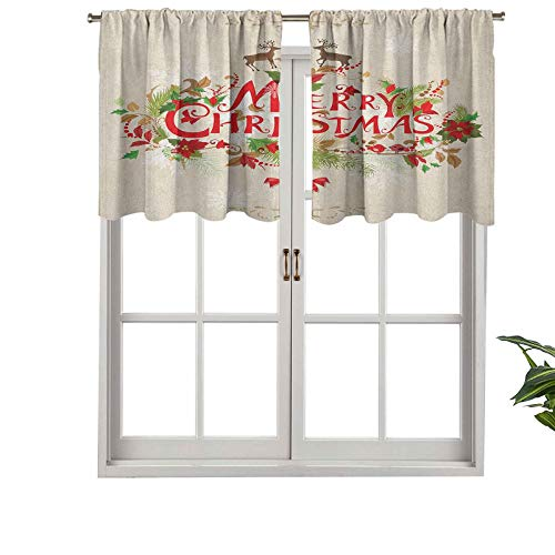 Hiiiman Blackout Curtains Valance with Rod Pocket Merry Xmas Wish with Fir Tree Branches Poinsettia Flowers Cute, Set of 2, 42'x24' for Living Room Bedroom Home Decor