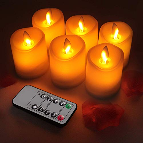 GPODER Flameless Candles 3' Set of 6 Battery Operated Moving Wick Candles Premium PC Pillar Realistic LED Flickering Flame Candles Light with Remote for Home Decoration
