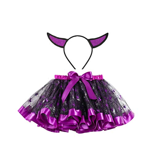 Holibanna Mädchen Tutu Rock Halloween böse Horn Stirnband Spinne Kostüm lila Tüll Mesh Requisiten Größe s