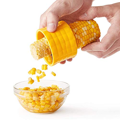 ODAHIS Corn Cob Stripper, Professional Stainless Steel Corn Kernel Remover Tool, Corncob-shaped handle, Core Kitchen Tool (1 set, yellow)