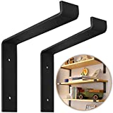"""wood and cast iron shelf - 12 Inch Floating Shelf Brackets, Heavy Duty 2-Pack, (Black) Industrial Strength, DIY Rustic Modern Steel Wall Shelf Brackets with Lip   Mounting Screws Included (Actual Size 11 1/4"""", Set of 2)"""