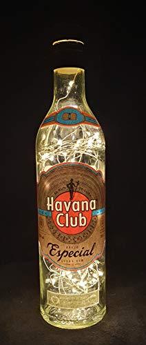 Havana Club Especial Flaschenlampe Lampe mit 80 LEDs Warmweiß Upcycling Geschenk Idee