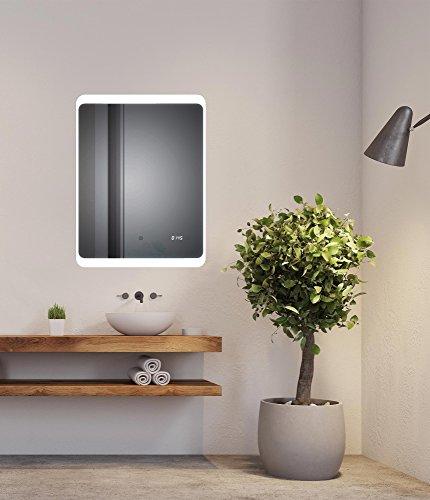 SOGOO LED-spiegel voor de badkamer, 50 x 70 cm/60 x 80 cm, 18 W, LED-spiegel met geïntegreerde verlichting, koudwit, 6500 K