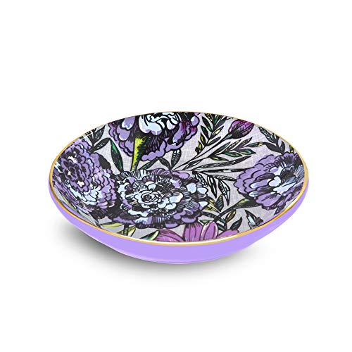 Vera Bradley Women's Purple Floral Small Ceramic Jewelry Holder Ring Dish, Lavender Meadow