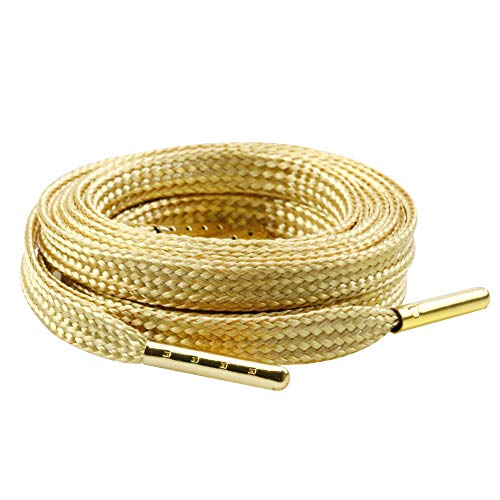 MiracleCat Flat Golden Color Metal Tips Silk Shoelaces for Sport Shoes and Sneakers Length 140CM