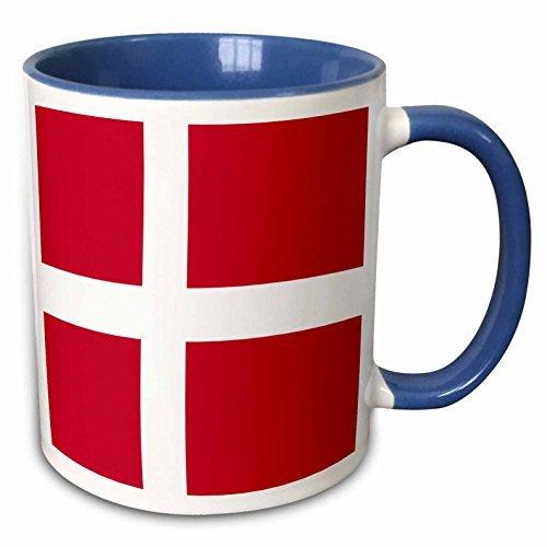 Queen54ferna Vlag Van Denemarken - Deens Rood Met Daan Wit Scandinavisch Kruis - Scandinavië Europees Wereld Land - Two Tone Blue Mok, 11Oz