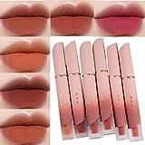 DDHH Kit de brillo de labios – 6 colores de terciopelo mate antiadherente brillo de labios kit de maquillaje de larga duración impermeable líquido lápiz labial conjunto de cosméticos de labios