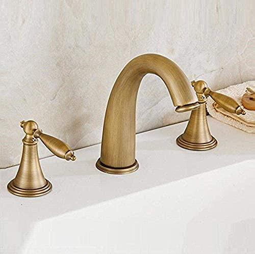 Grifo grifo lavabo grifo lavabo grifo baño antiguo tres agujeros grifo cobre Split tipo agua caliente y fría tres piezas grifo proceso de dibujo