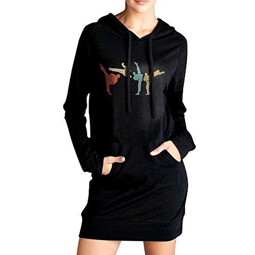 Women's Vintage Style Taekwondo Martial Arts Casual Sweatshirt Tunic Slim Fit Hoodie Pockets Dress