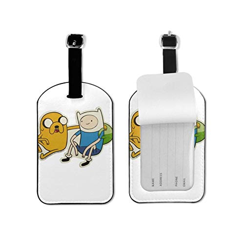Adv-enture Time Luggage Tags Suitcase Card Holder Bag Tag Name Address ID Bag Label Microfiber PU Leather 2.7inchx4.3inch