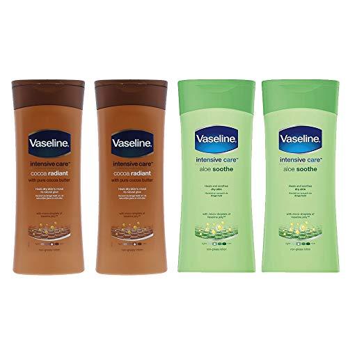 Vaselina Vaseline Cuidados Intensivos Aloe Fresh + Cacao Radiante Lotion 400ml - Paquete de 4