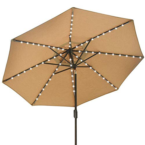 EliteShade Sunbrella Solar Umbrellas 9ft Market Umbrella with 80 LED Lights Patio Umbrellas Outdoor Table Umbrella with Ventilation and 5 Years Non-Fading Top,Heather Beige