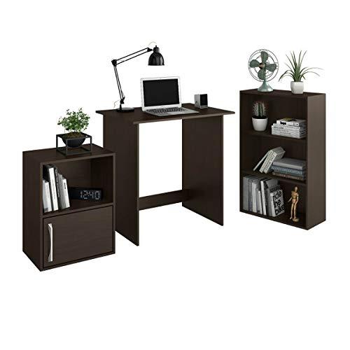 KINGSMAN, Combo Muebles de Oficina, Tres Piezas, Escritorio, Estante 3 Niveles y Estante 1 Nivel, Home Office, Diseño Moderno, Color Chocolate