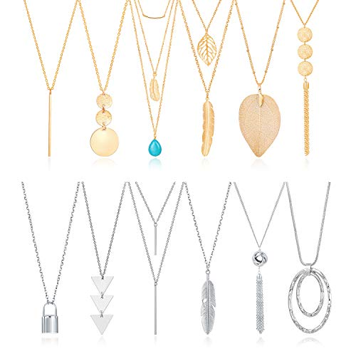 Fecsiory 12 Pcs Long Pendant Necklace for Women, Gold Bar Feather Triangle Leaf Lock Tassel Y Necklace Jewelry Set for Girls