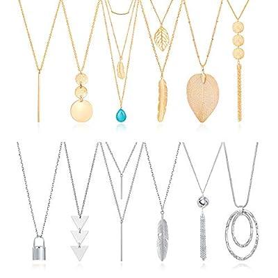 Fecsiory 12 Pcs Long Pendant Necklace for Women...