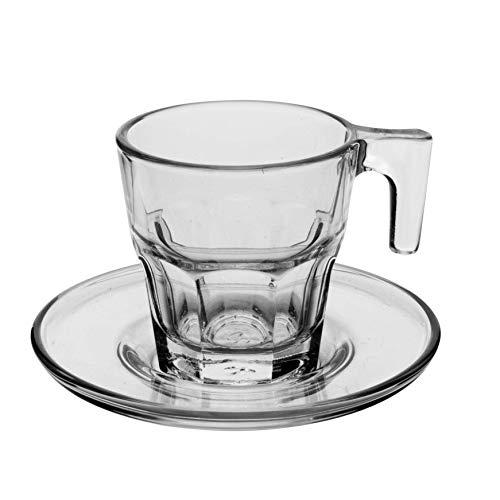 Pasabahce Casablanca 95753 - Tazzine da Caffè Espresso con Piattini, 70 ml, Confezione da 12 pezzi (6 piattini e 6 tazzine)