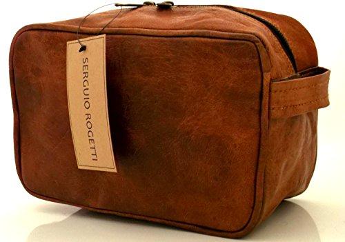 Handverarbeiteter Kulturbeutel, Designer-Tasche, elegant, aus Leder, für Körperpflegemittel, Reise, Urlaub