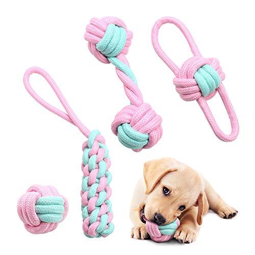 Hundespielzeug Seil Set, 4 Stück Langlebiges Interaktives Hundespielzeug für Welpen kleine und mittelgroße Hunde, Welpenzahnspielzeug Hund Kauspielzeug- Natürliche Baumwolle