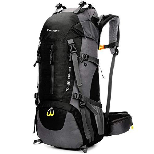EMAGIE Mochila Resistente al Agua 60L (55+5) para Senderismo Montañismo Campamento Acampada Viaje Resistente al Agua de Lluvia para Deportes al Aire Libre Pesca Ciclismo Esquí (Negro, 60L)