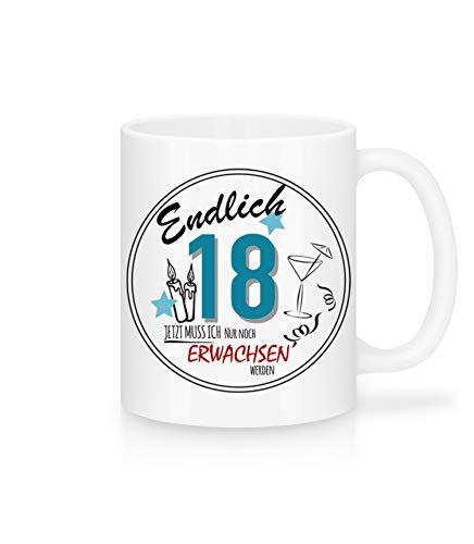 Shirtinator 18. Geburtstag Tasse mit Spruch erwachsen Keramik Geschenkideen volljährig 18 Schwester Bruder Freund Freundin
