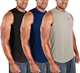 DEVOPS 3 Pack Men's Muscle Shirts Sleeveless Dri Fit Gym Workout Tank Top (Large, Black/Navy/Gray)