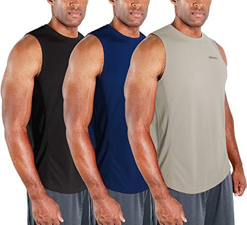 DEVOPS - Camiseta deportiva sin mangas de ajuste seco para hombre, camiseta de rendimiento para entrenamiento y gimnasio, paquete de 3 unidades, L