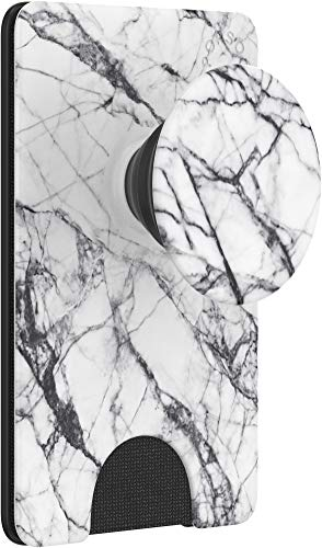 PopSockets PopWallet+: Swappable and Repositionable Wallet - Dove White Marble