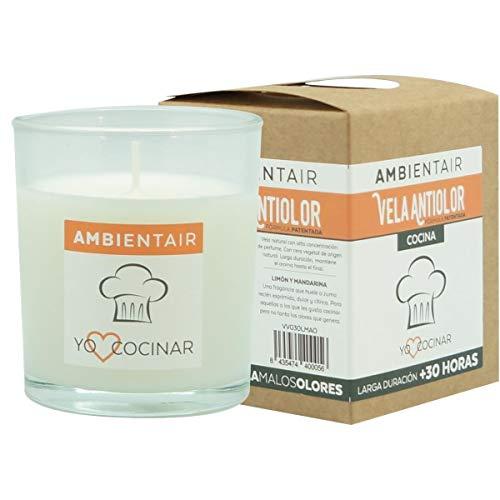 Ambientair. Vela aromática para cocinas aroma naranja. Vela perfumada con cera vegetal y perfume natural con una duración estimada de 30 horas. Disfruta de la aromaterapia en tu casa.