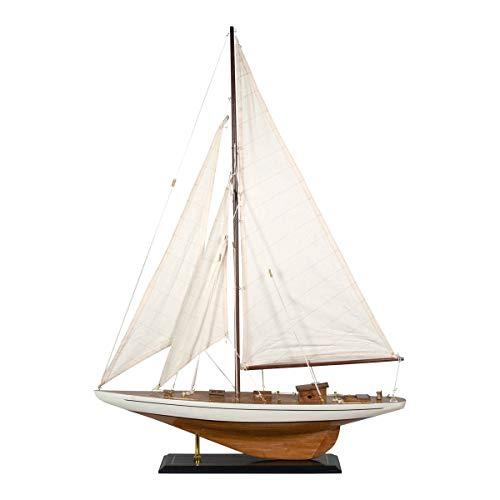 Vidal Regalos Statuetta decorativa a forma di barca a vela, in legno, modellino in miniatura, candela 85 cm