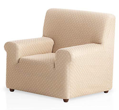 Funda de sofá elástica Olivia - Color Marfil - Tamaño 1 Plaza (de 50 a 90 cm)