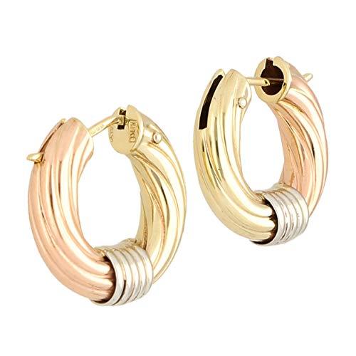 Pendientes de aro para mujer de 9 quilates, oro amarillo, blanco y rosa (24 mm de diámetro), el regalo perfecto para una mujer especial | Jollys Jewellers