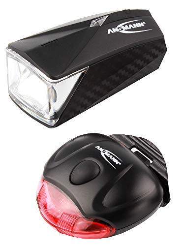 ANSMANN LED Fahrradlicht Set (vorne + hinten) StVZO-konform, Batterie betrieben, abnehmbar - Fahrrad Frontlicht und Rücklicht