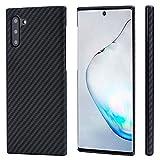 pitaka Magnetische Hülle Kompatibel mit Samsung Galaxy Note 10, MagEZ Hülle [Aramidfaser] Minimalistische Handyhülle Ultra dünn & Super leicht, 3D Haptik-Schwarz/Grau(Köperbindung)